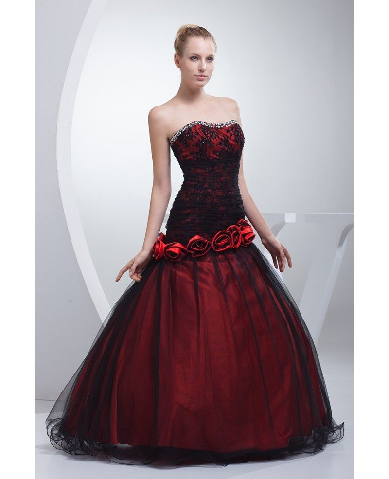 Pink Color Wedding Gown: Gothic Black And Red Floral Ballgown Tulle Color Wedding