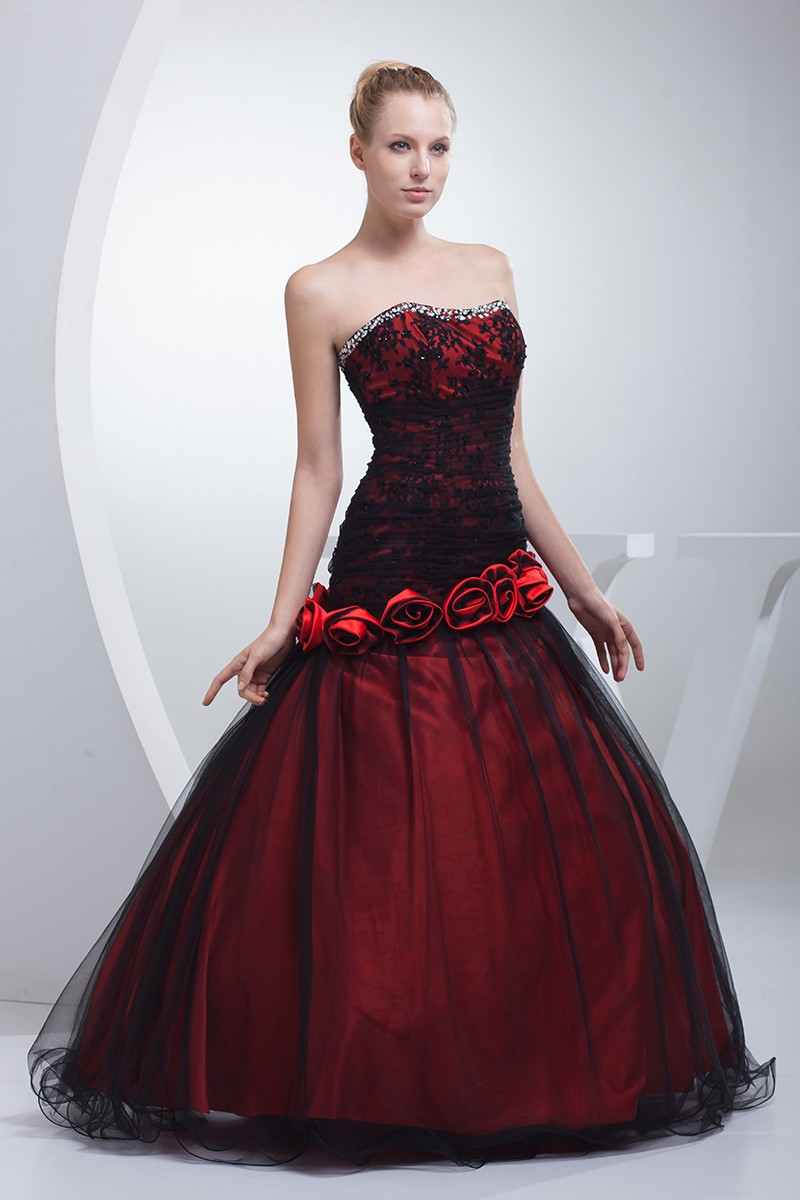 gothic black and red floral ballgown tulle color wedding