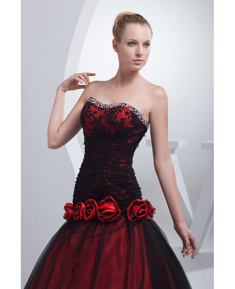 Red And Black Wedding Dresses: Gothic Black And Red Floral Ballgown Tulle Color Wedding