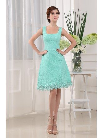 A-line Square Neckline Knee-length Lace Bridesmaid Dress