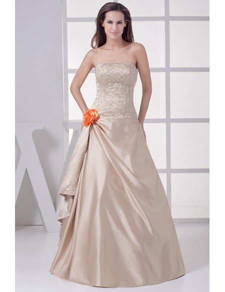 GRACE LOVE Strapless Embroidered Champagne Color Wedding Dress With Flower