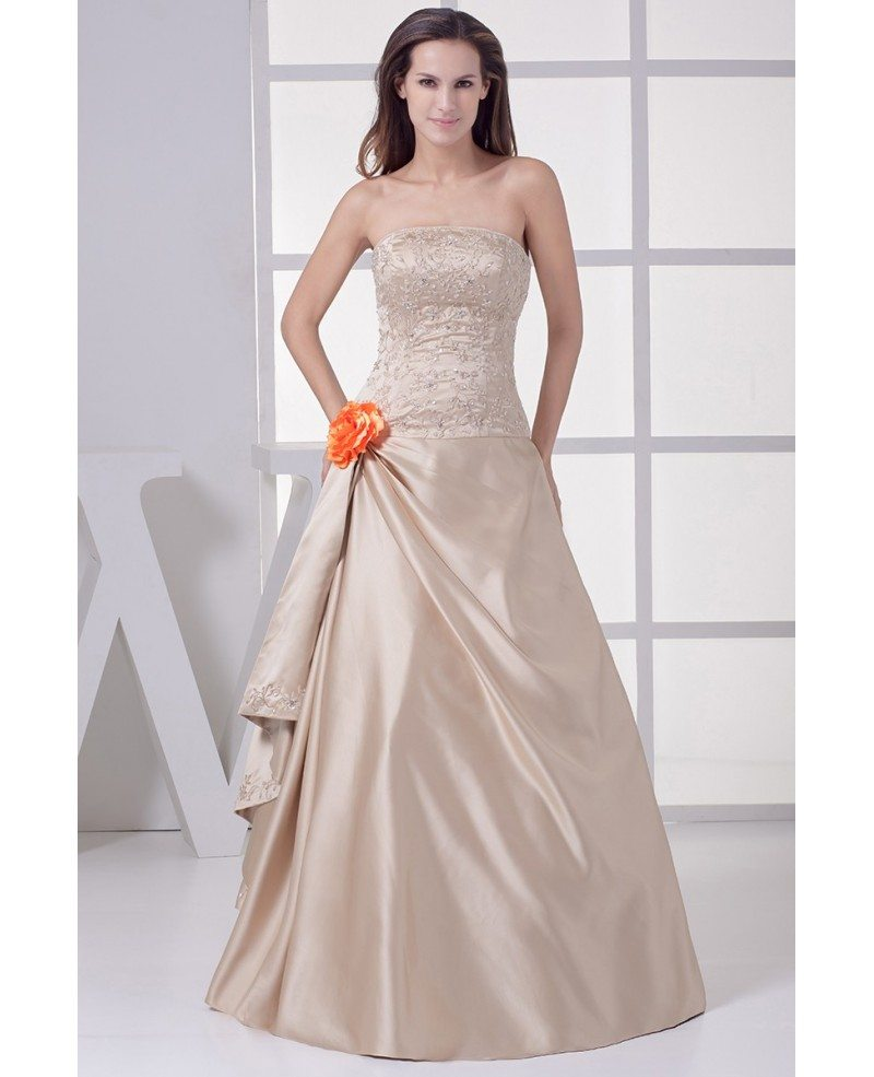Strapless embroidered champagne color wedding dress with for Flower embroidered wedding dress