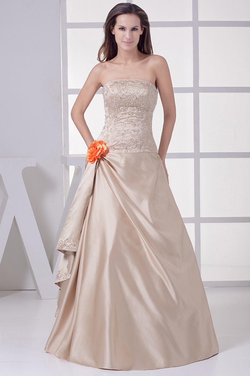wedding dress with color strapless embroidered champagne color wedding dress with 9280