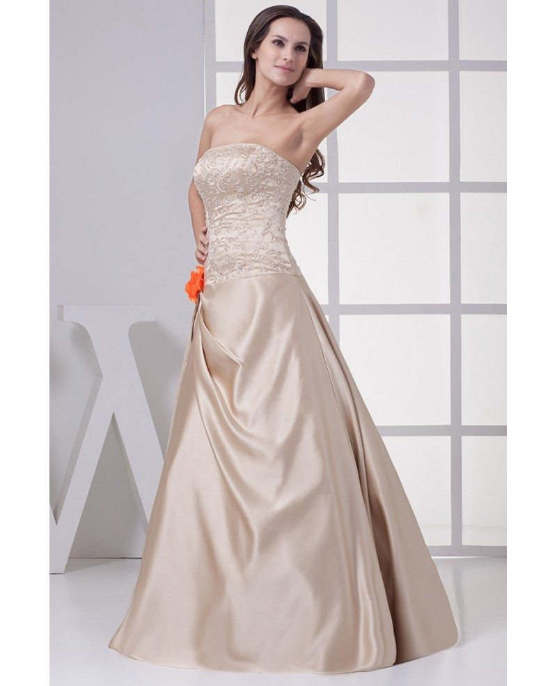 Color Wedding Gown: Strapless Embroidered Champagne Color Wedding Dress With