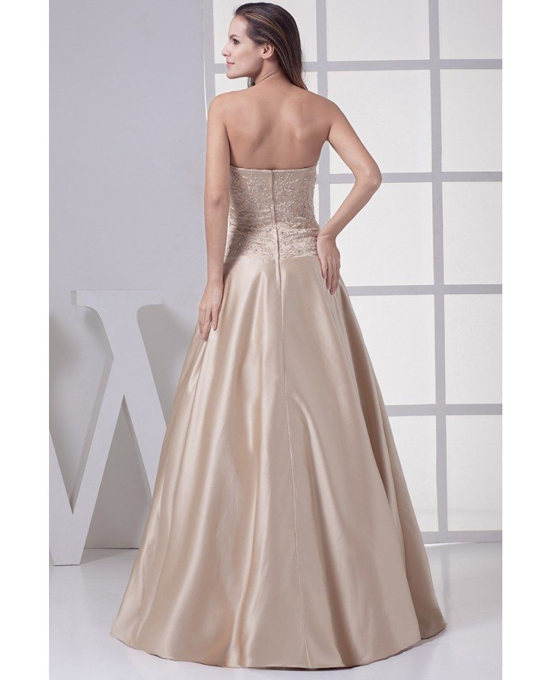Strapless Embroidered Champagne Color Wedding Dress With