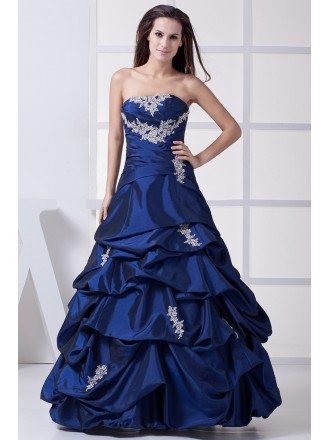 Classic Royal Blue Lace Taffeta Ruffles Wedding Dress Strapless