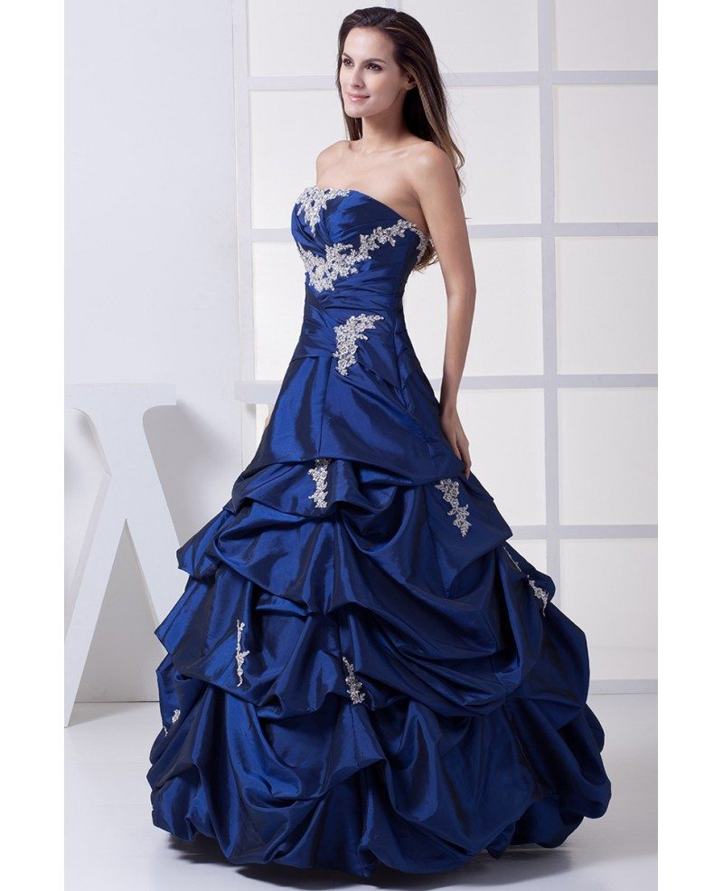 Classic Ivory Wedding Dresses: Classic Royal Blue Lace Taffeta Ruffles Wedding Dress