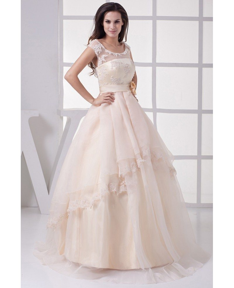 Gorgeous Empire Waist Long Tulle Ballgown Wedding Dress with Flower ...