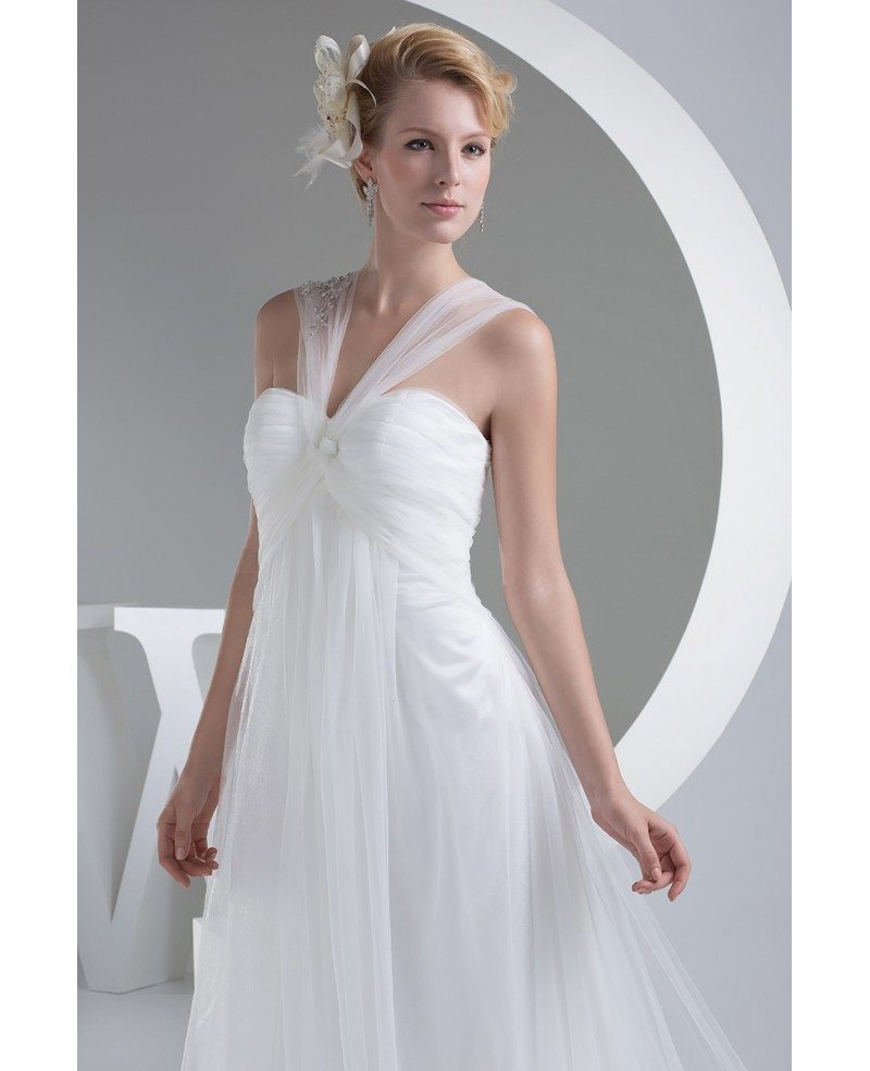 Elegant white long tulle wedding dress with train oph1202 for Long elegant dresses for weddings