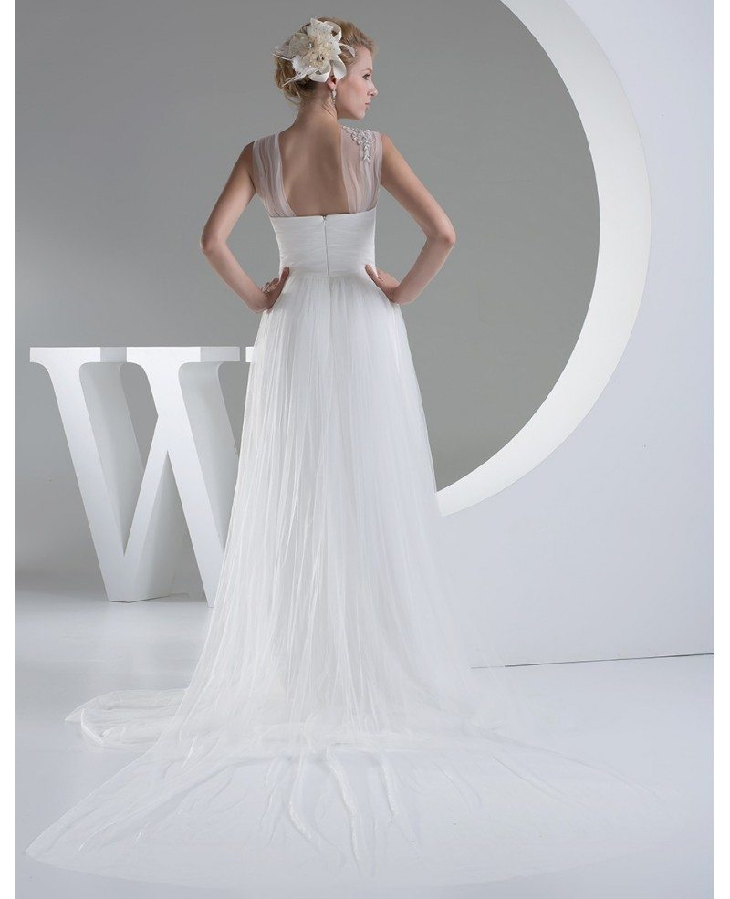 Elegant white long tulle wedding dress with train oph1202 for Wedding dresses with tulle