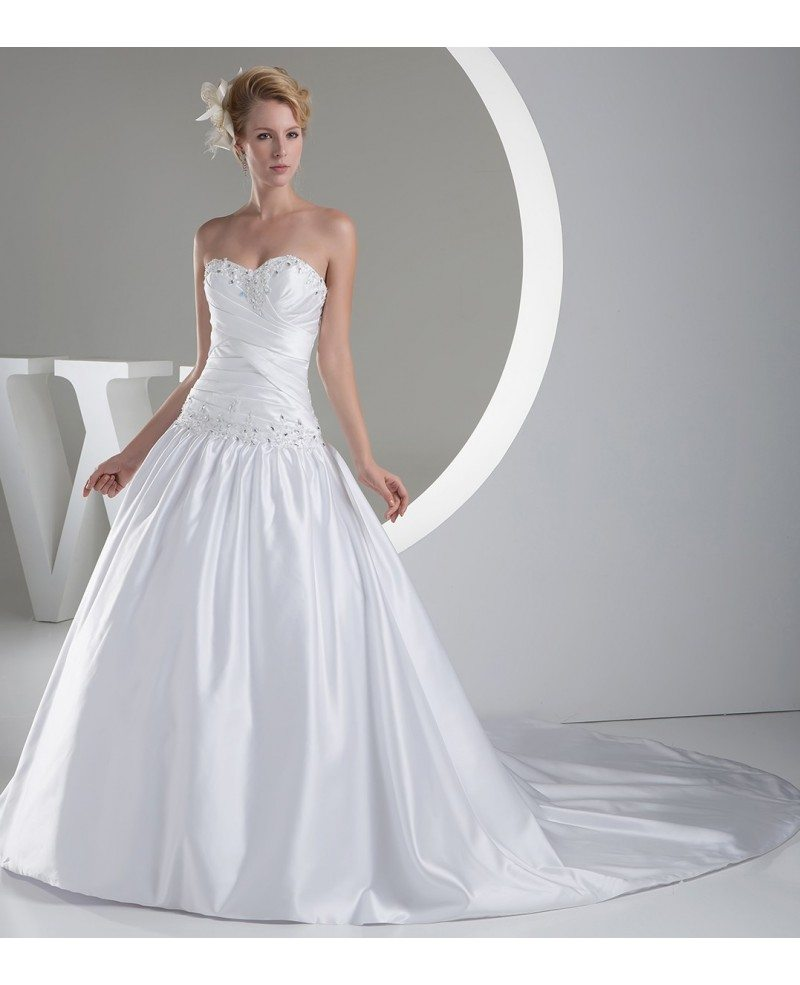 Sweetheart Ballgown Satin Wedding Dress with Beaded Bling #OPH1211 ...