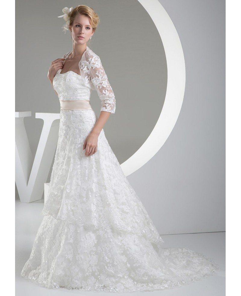 Beautiful full lace tulle aline wedding dress with jacket for Lace jackets for wedding dresses