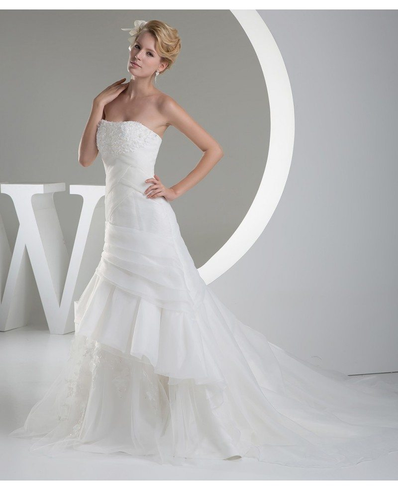 strapless organza ruffles wedding dress custom oph1213