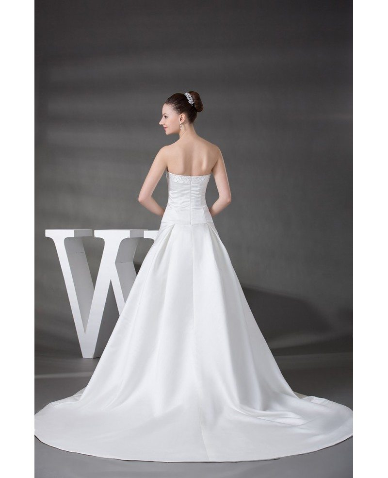 strapless beaded satin wedding dress with train oph1218