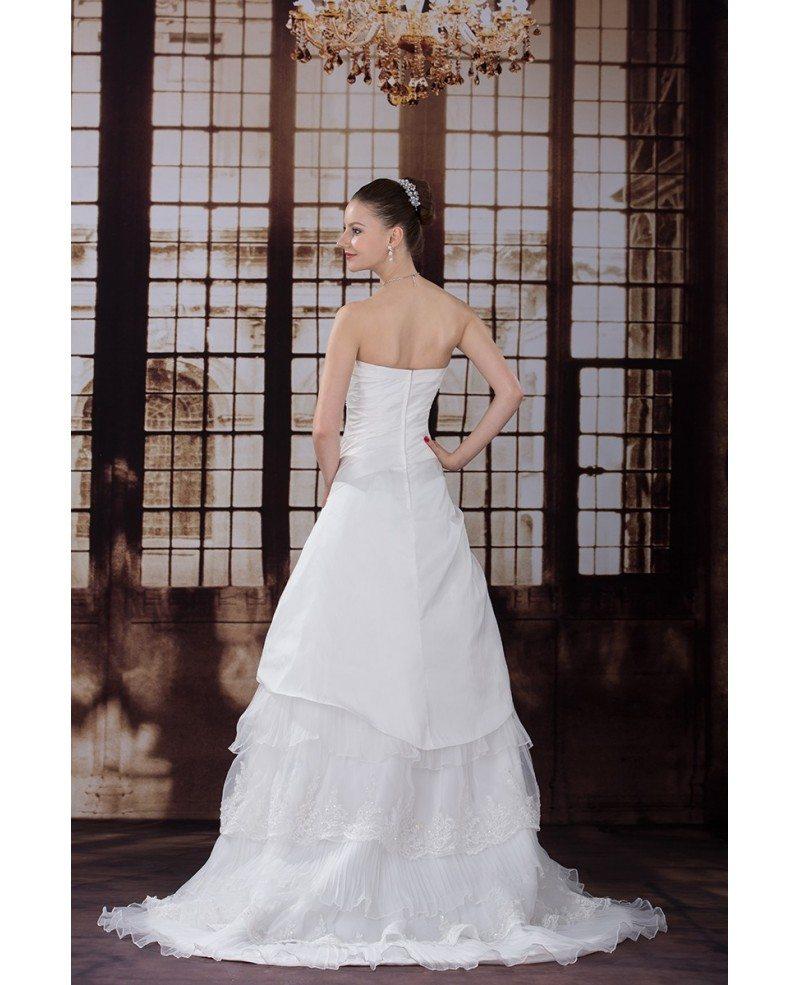 Beautiful Layered Taffeta Strapless Wedding Dress #OPH1221