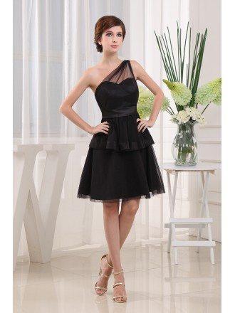A-line One-shoulder Short Chiffon Bridesmaid Dress