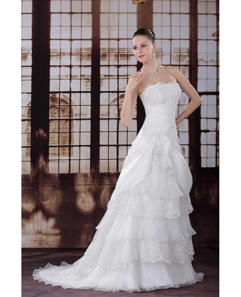 Beautiful layered taffeta strapless wedding dress oph1221 for Strapless taffeta wedding dress