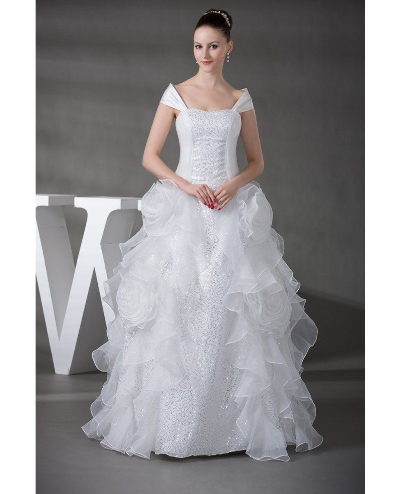 Off the shoulder cascading ruffles sequined wedding gown for Cascading ruffles wedding dress