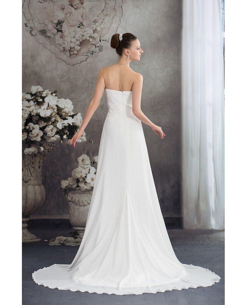 Chiffon Wedding Dresses: Simple Aline Chiffon Sweetheart Beach Wedding Dress