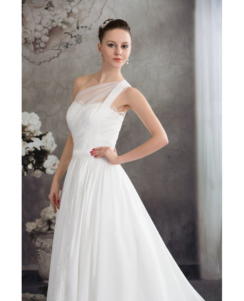 One Strap Simple Aline Lace Wedding Dress #OPH1226 $242.9