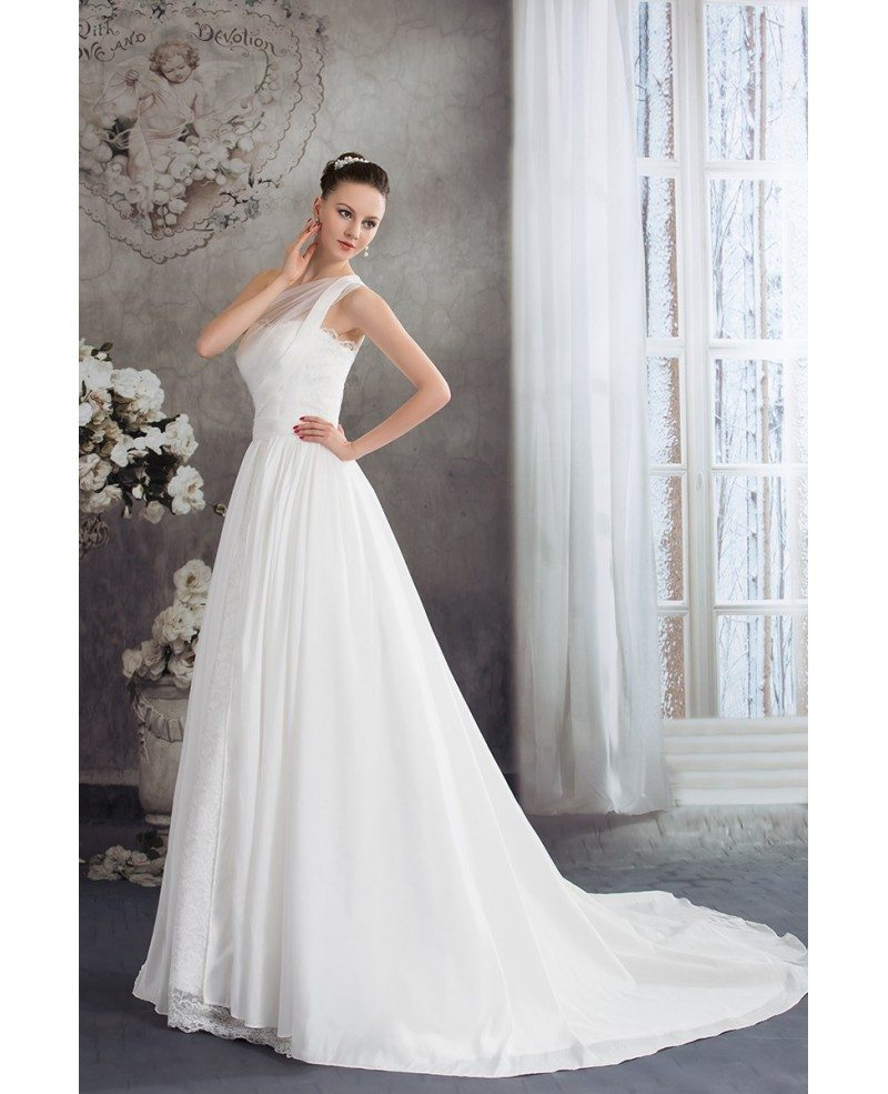 Wedding Gown With Lace: One Strap Simple Aline Lace Wedding Dress #OPH1226 $242.9