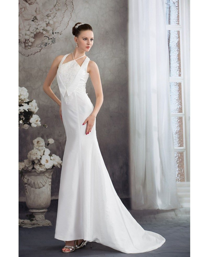 Long Halter White Fitted Mermaid Taffeta Wedding Dress