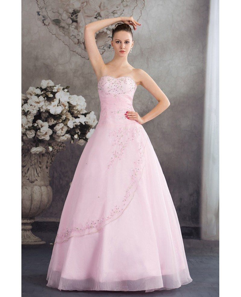 Fuchsia Gown: Sequined Pink Organza Colored Wedding Dress Ballgown