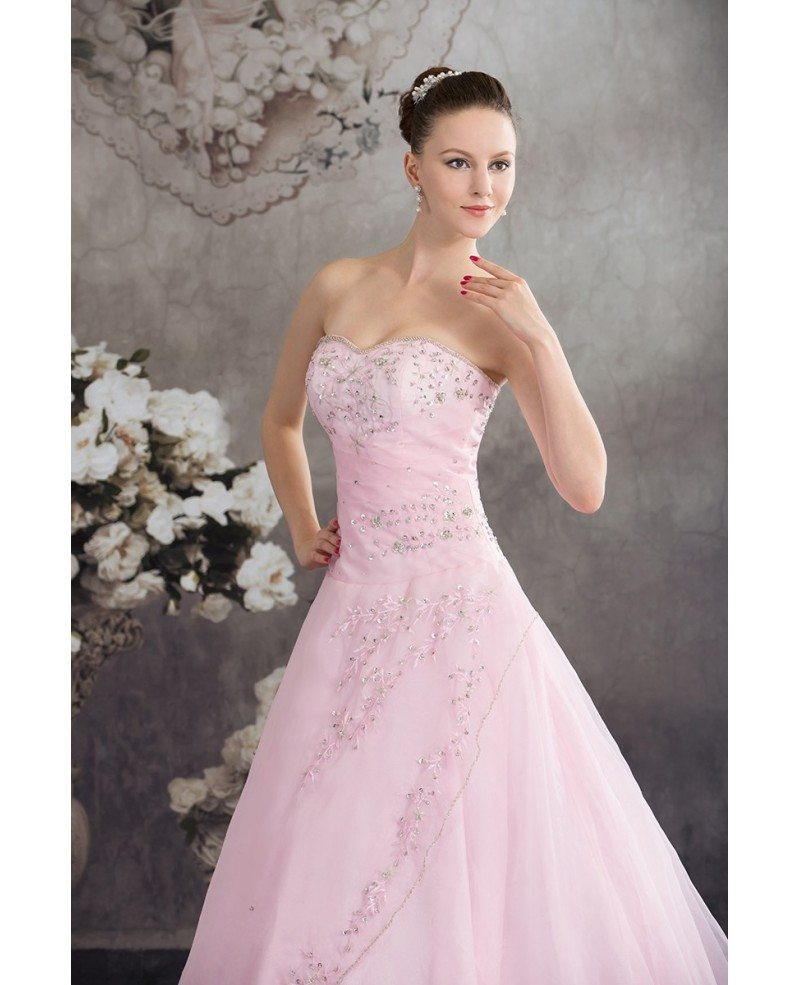 Colorful Wedding Dresses: Sequined Pink Organza Colored Wedding Dress Ballgown