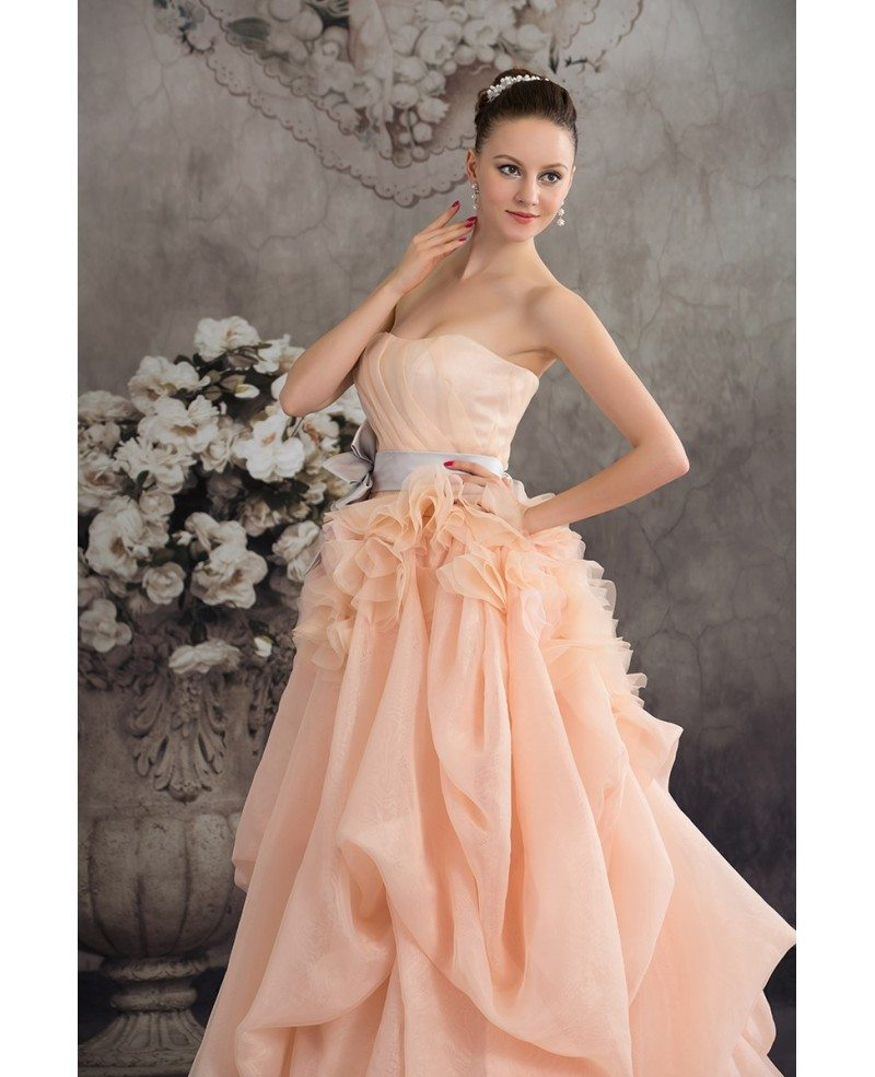Cascading ruffles colored two tone organza wedding dress for Cascading ruffles wedding dress
