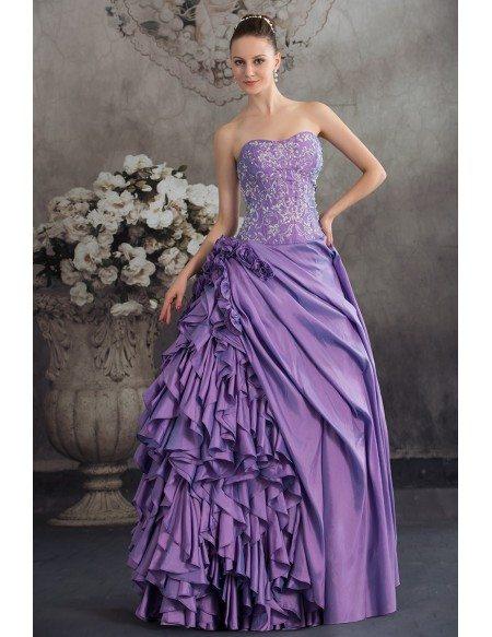 Purple Taffeta Ruffles Silver Embroidery Colored Wedding
