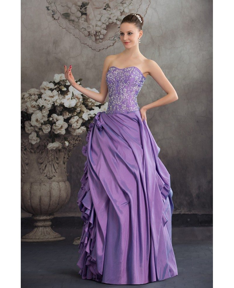 Purple taffeta ruffles silver embroidery colored wedding for Silver and purple wedding dresses