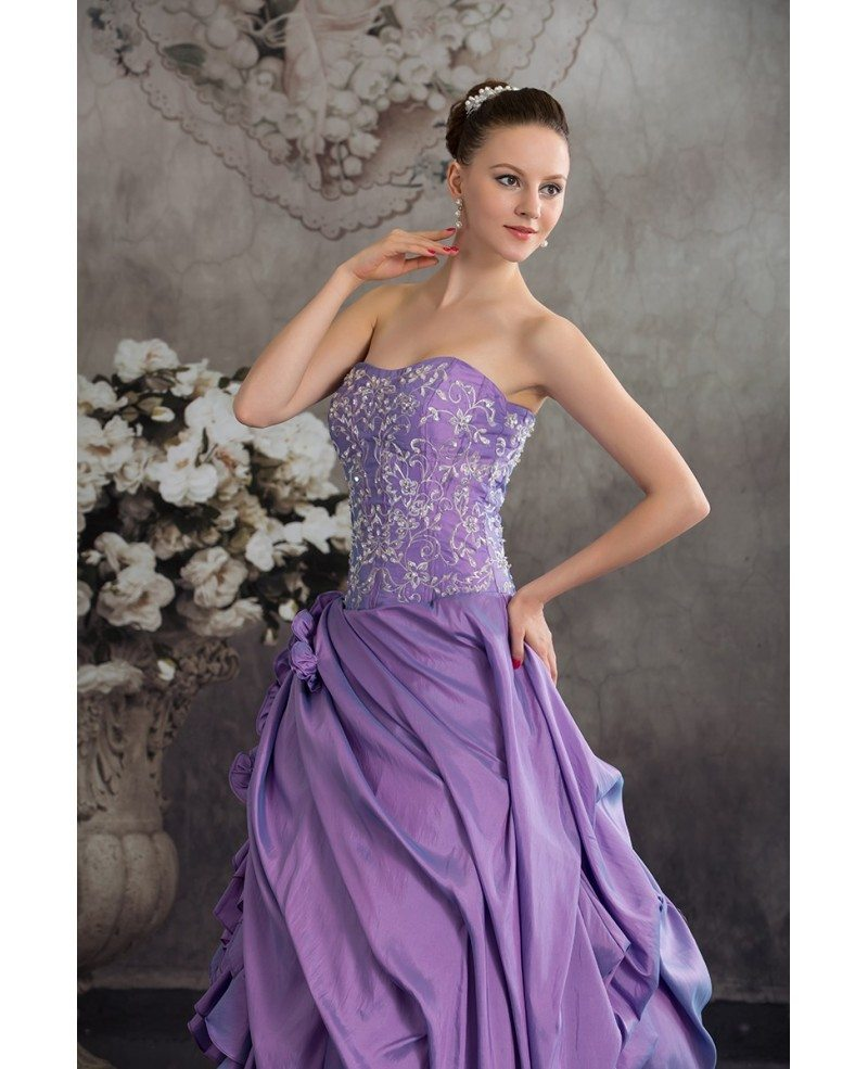 Purple taffeta ruffles silver embroidery colored wedding for Wedding dress with purple embroidery