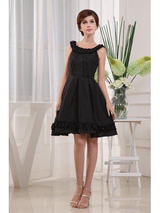 A-line Square Neckline Knee-length Chiffon Homecoming Dress