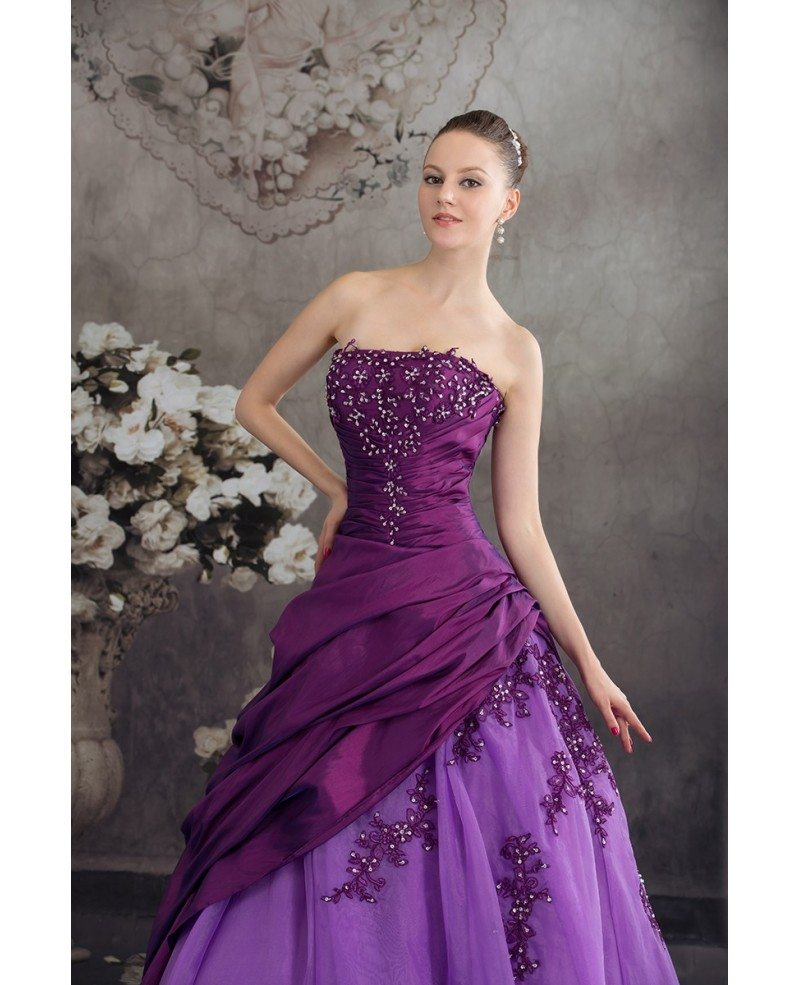 Purple two tone strapless pleated wedding dress with for Two color wedding dress
