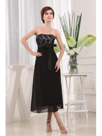 A-line Strapless Ankle-length Chiffon Lace Bridesmaid Dress