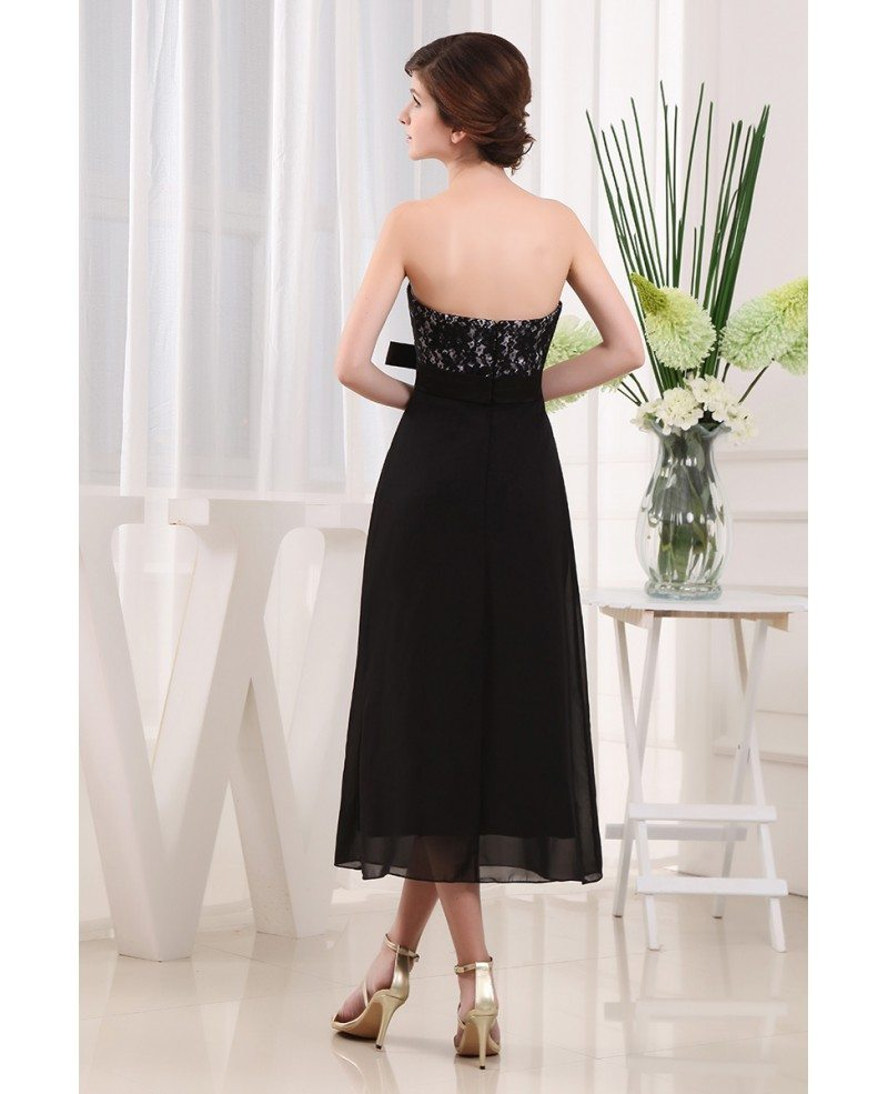 A-line Strapless Ankle-length Chiffon Lace Bridesmaid