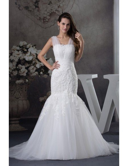 Gorgeous tulle straps fitted mermaid lace wedding dress for Beautiful fitted wedding dresses