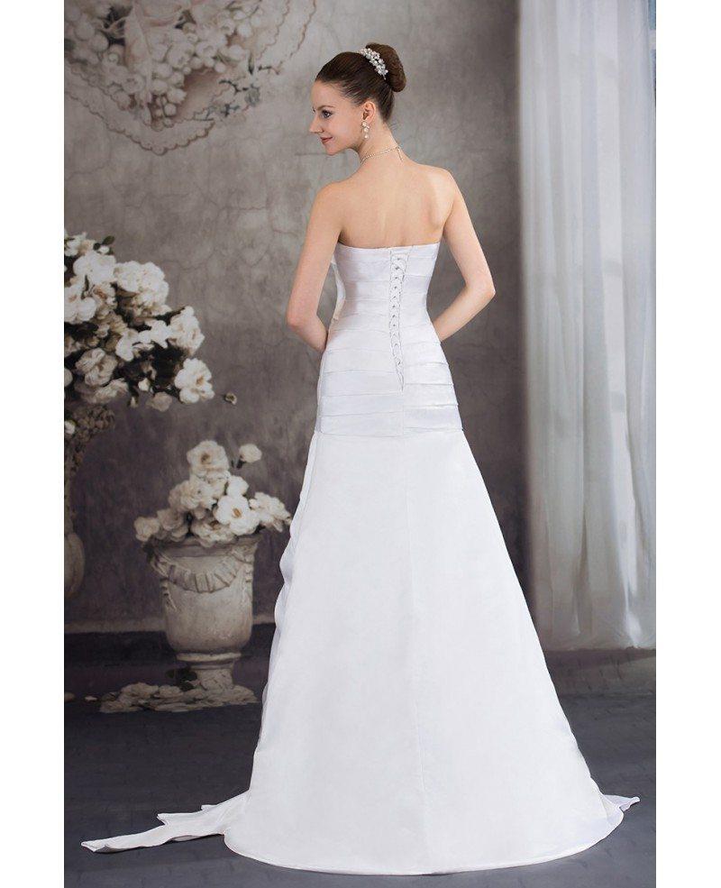 Mermaid Wedding Dresses Pleated : Pleated satin sweetheart mermaid wedding dress with corset