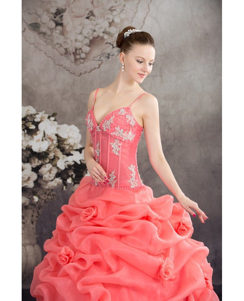 Unique Ruffled Organza Watermelon Red Wedding Dress with Straps ...