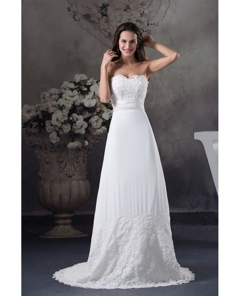 Wedding Dresses: Special Lace Trim Long Train Chiffon Beach Wedding Dress