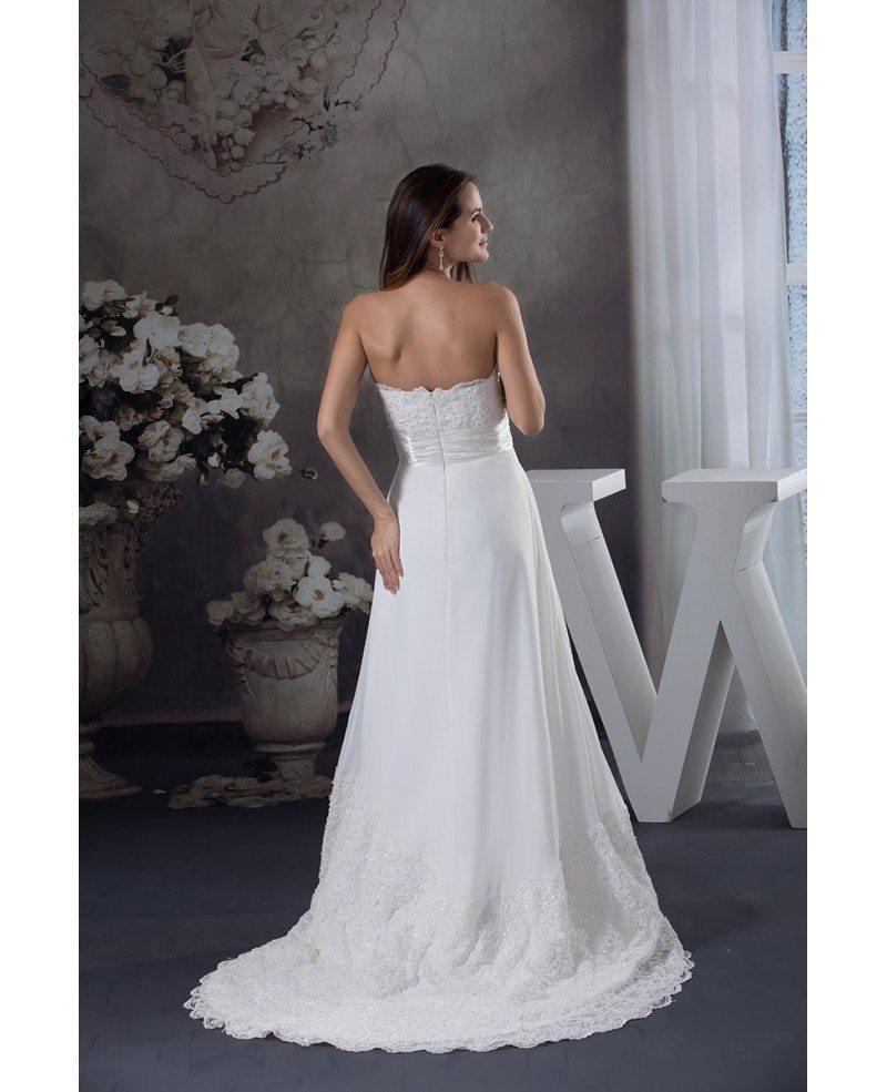 Special Lace Trim Long Train Chiffon Beach Wedding Dress OPH1263