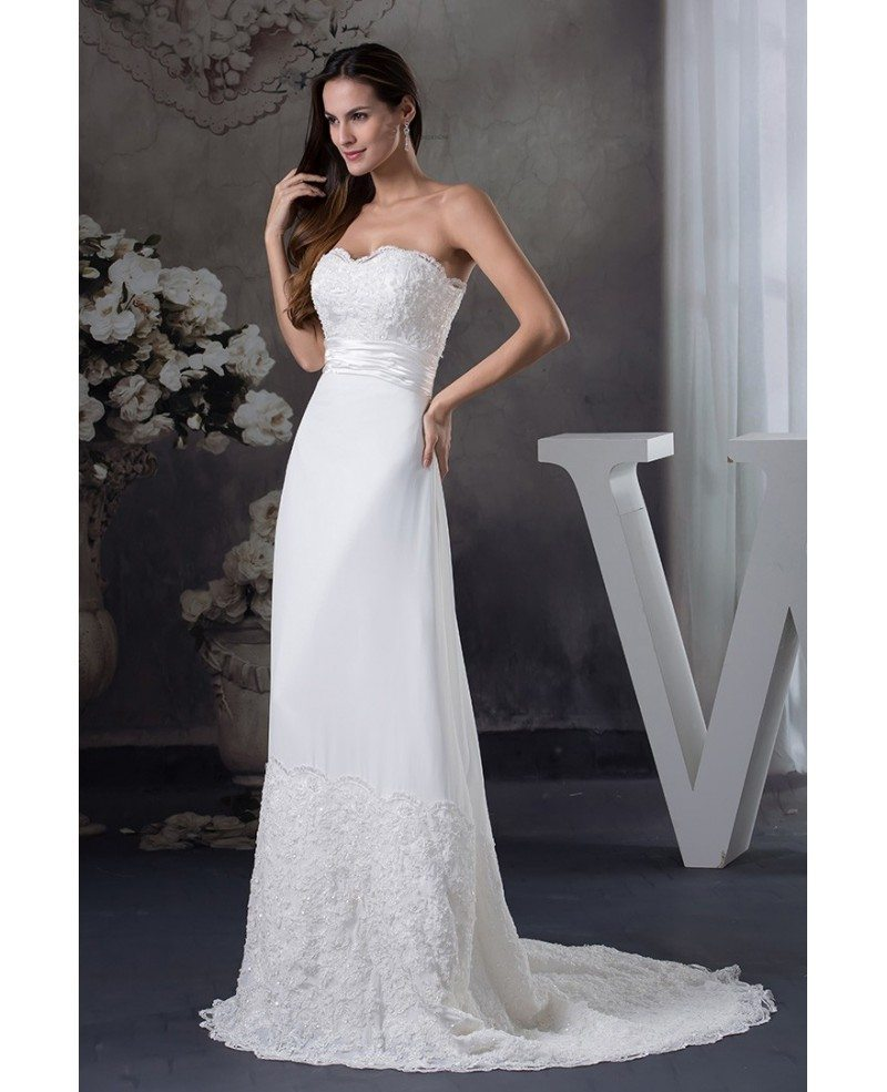 Special lace trim long train chiffon beach wedding dress for Beach chiffon wedding dress