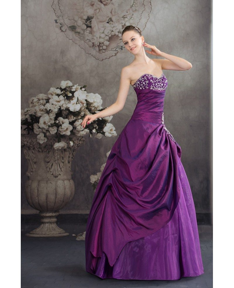 Purple sweetheart embroidered taffeta ballgown color for Wedding dress with purple embroidery