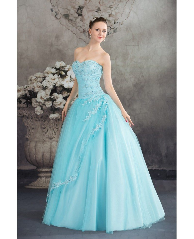 Beautiful Blue Lace Tulle Ballgown Wedding Dress Corset