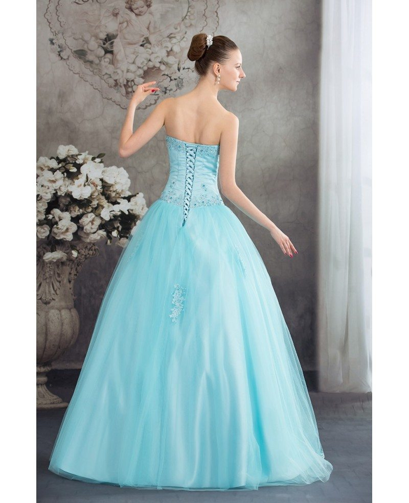 Beautiful Blue Lace Tulle Ballgown Wedding Dress Corset Back ...