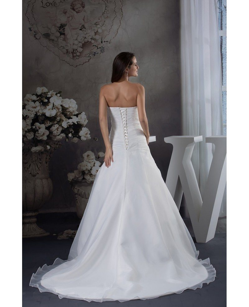 Adding Lace To Wedding Dress: Strapless Organza Lace Wedding Dress With 3/4 Sleeves