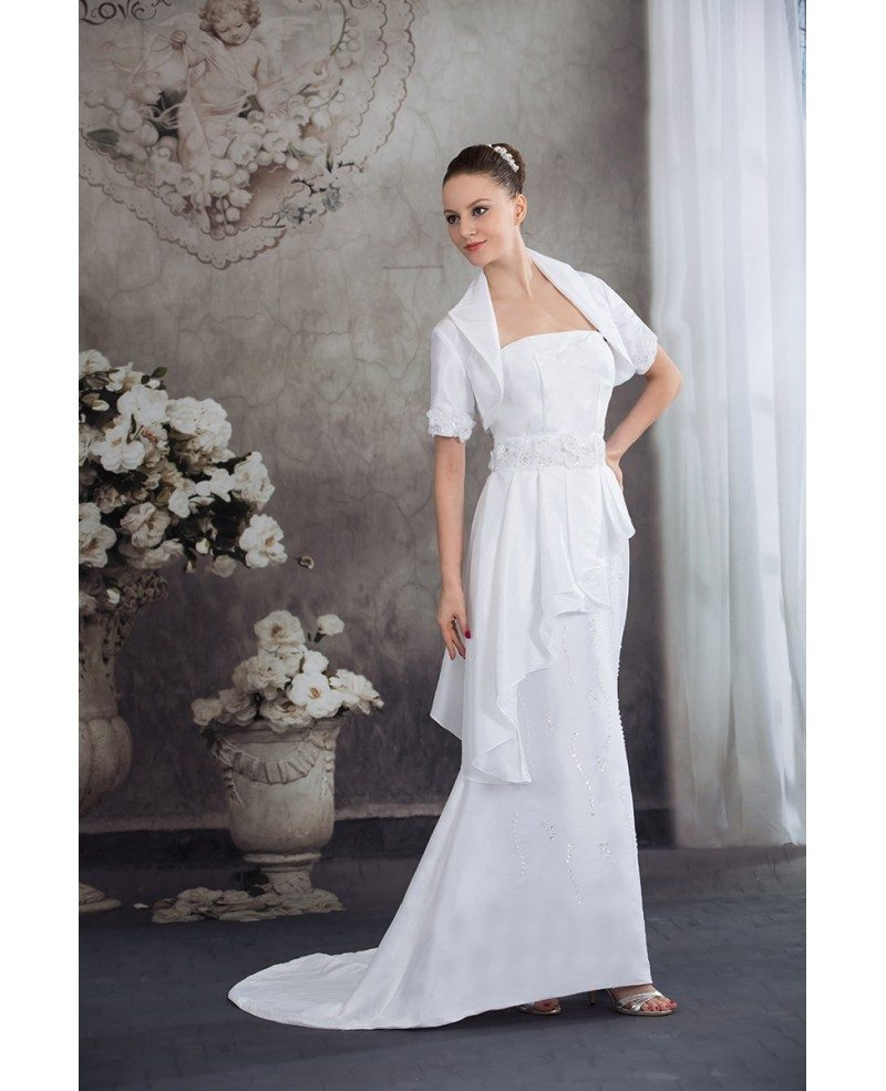 Wedding Gowns For The Mature Bride: Taffeta Flowers Train Length Mature Wedding Dress With