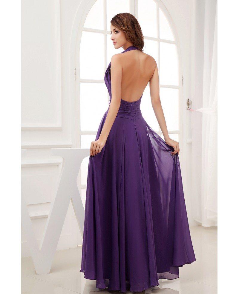 Chiffon Dressing Gown: A-line Halter Floor-length Chiffon Bridesmaid Dress