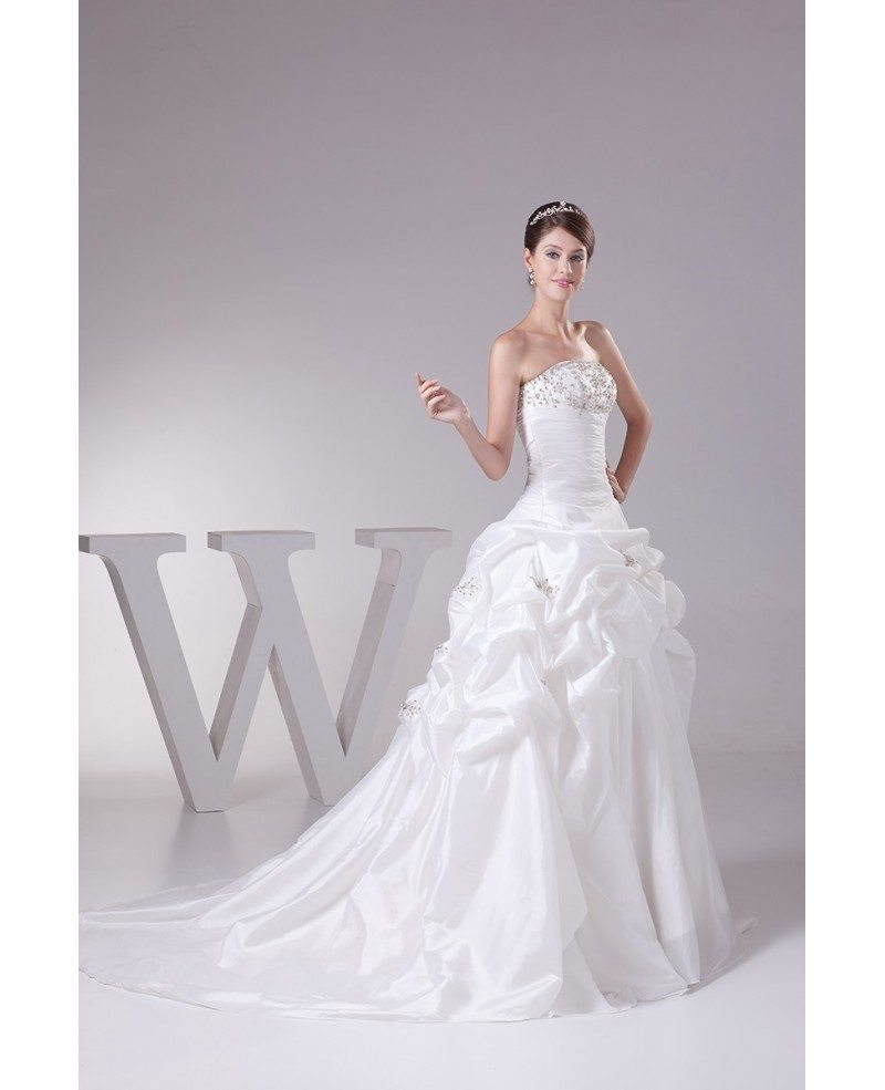 Strapless ballgown taffeta embroidered wedding dress with for Strapless taffeta wedding dress