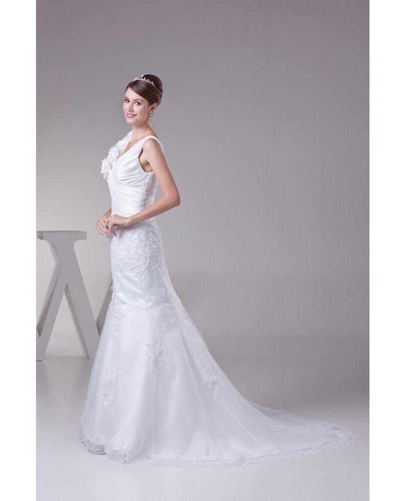 Elegant floral shoulder lace taffeta mermaid wedding dress for Taffeta mermaid wedding dress